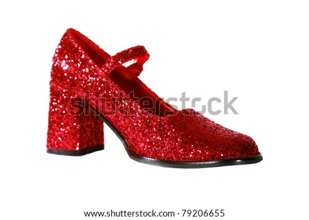 Ruby Red Shoes sparkle and shine isolated on white with room for your text - stock photo