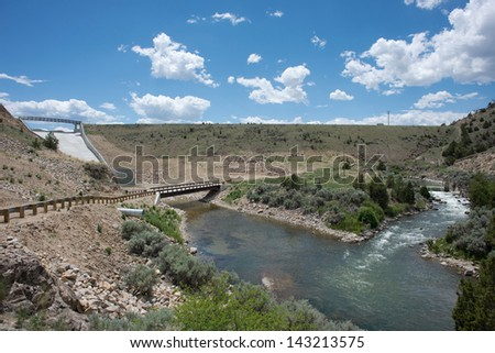 Ruby river dam and spillway in Madison County, Montana. - stock photo