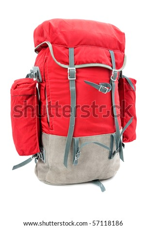 rucksack on the white background - stock photo