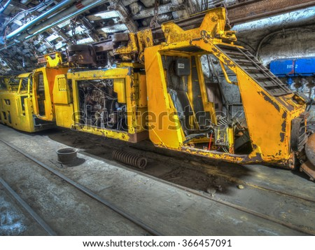 Ruda Slaska, Poland - November 05, 2015:  A train  to transport miners and coal in a coal mine.