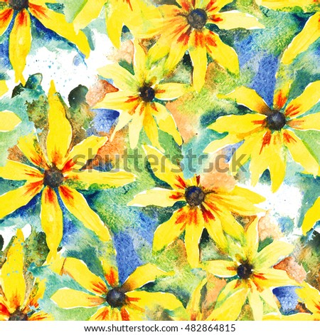 Rudbeckia. Floral watercolor background, seamless pattern for textile, wallpaper, wrapping paper.