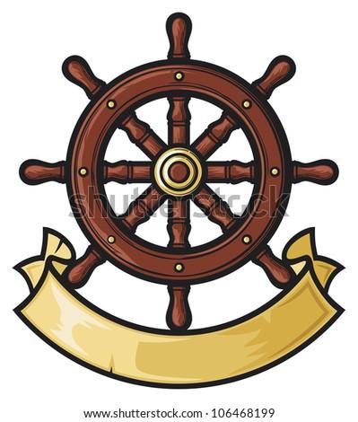 rudder (rudder in tattoo style, rudder and banner) - stock photo