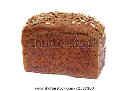 ruddy long loaf of bread with sunflower seeds, isolated on white background - stock photo