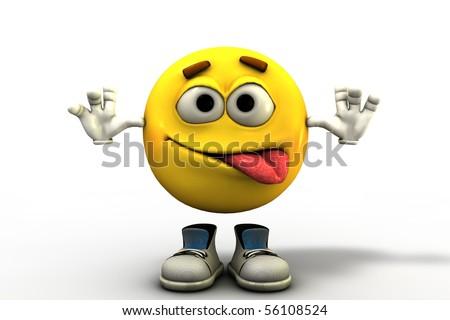 Rude boy tongue out emoticon - stock photo