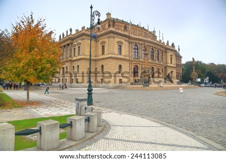 Rudolfinum building on the streets of Prague Old Town, Czech Republic - stock photo