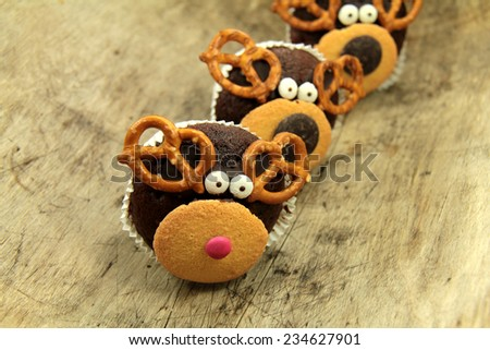 rudolph muffins - stock photo