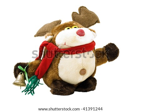 Rudolph  reindeer toy with christmas bell - stock photo