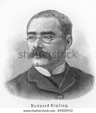 Rudyard Kipling - Picture from Meyers Lexicon books written in German language. Collection of 21 volumes published  between 1905 and 1909.
