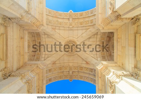 Rue Augusta Arch on Commerce Square in Lisboa, Portugal - stock photo