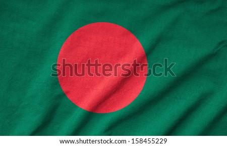 Ruffled Bangladesh Flag - stock photo