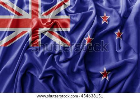 Ruffled waving New Zealand flag - stock photo