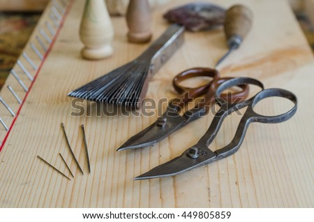 Rug repair hand tools, repair instruments, scissors, awl, prod, needles, thread spools, thread ball