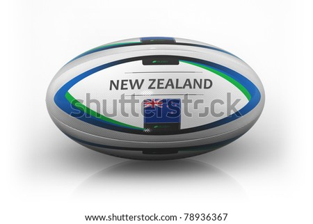 Rugby Ball  New Zealand - stock photo