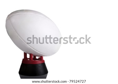 Rugby ball on white with copy space on ball - stock photo