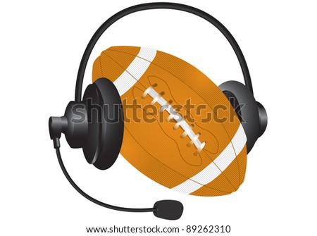 rugby ball with headphones on a white background