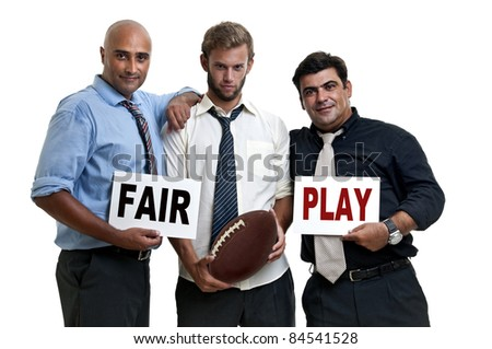 Rugby fans with fair play warning - stock photo