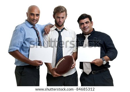 Rugby fans with white cards - stock photo
