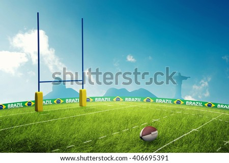 Rugby field 3D Illustration - stock photo