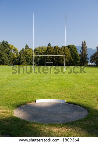 Rugby goal posts and field at Stanly Park, Vancouver - stock photo