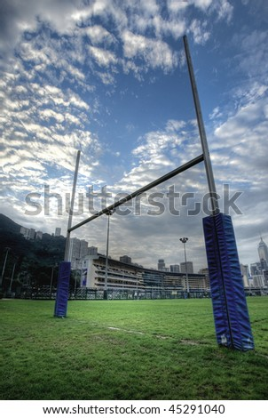 rugby goalposts in HDR - stock photo