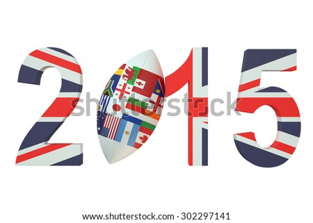 Rugby 2015 Great Britain concept  isolated on white background - stock photo