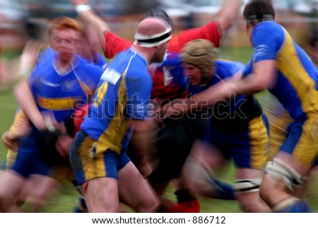 Rugby Match - the forwards in a maul - stock photo