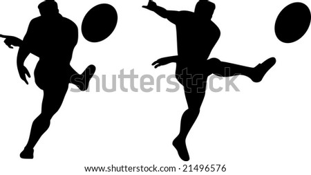 Rugby player kicking the ball silhouette - stock photo
