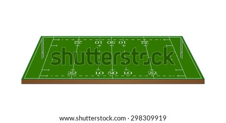 Rugby Union Field 3D with Goalposts - stock photo