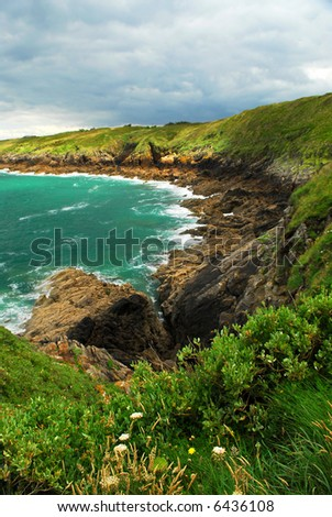 Rugged beauty of rocky Atlantic ocean coast in Brittany, France