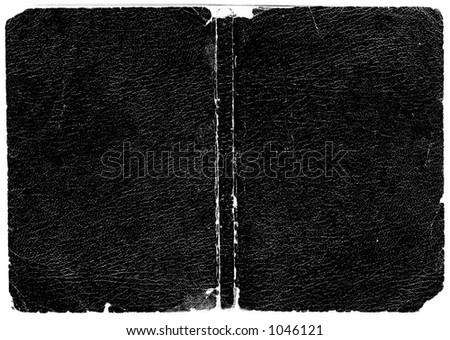 Rugged black leather book cover. Hi-res scanned & optimized. Huge file size. - stock photo
