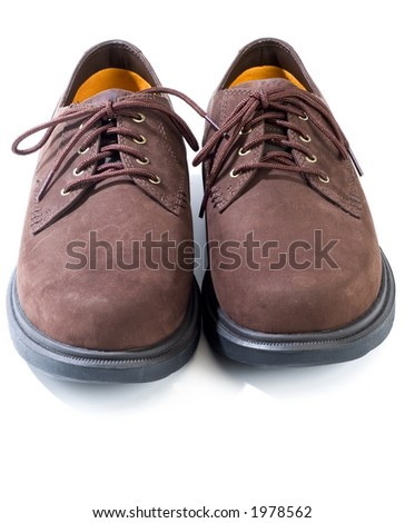 rugged casual shoes in brown suede on white background