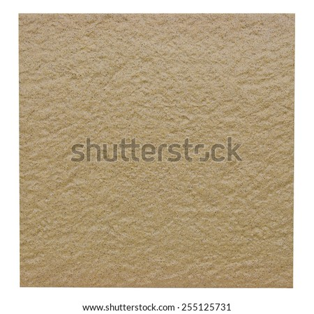 Rugged ceramic floor tile in ocher isolated on white with clipping path - stock photo