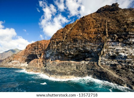 Rugged coastline of Na Pali (Kauai, Hawaii) - stock photo