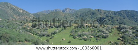 Rugged hills in Upper Ojai Valley, California - stock photo