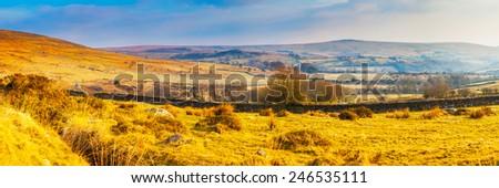 Rugged moorland scenery near Tavy Cleave in Dartmoor National Park, Devon England UK - stock photo