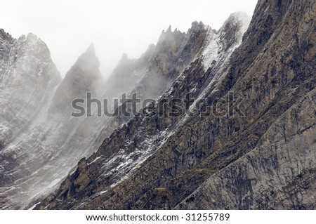 rugged mountains in the winter