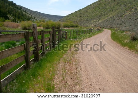 Rugged rural road in the spring, Blaine County Idaho - stock photo