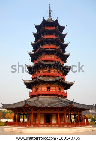 Chinese Buddhist Pagoda Ruiguang Pagoda Suzhou Stock Photo