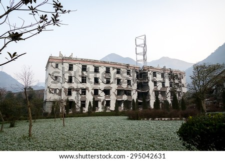 Ruin after the Great Sichuan Earthquake on 2008-05-12 - stock photo