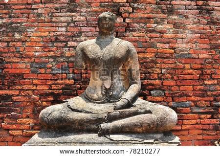 Ruin Buddha Statue - stock photo