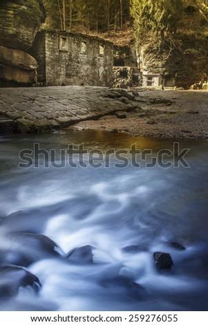 Ruin of a mill in czech switzerland  - stock photo
