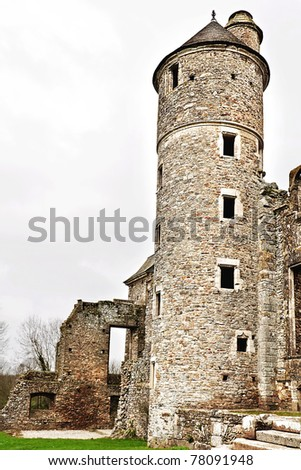 ruin of a old chateau in normandy france