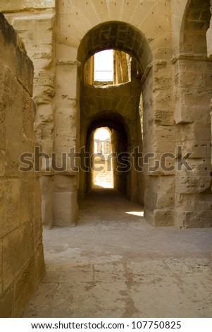 ruin of ancient amphitheater in El Jem - stock photo