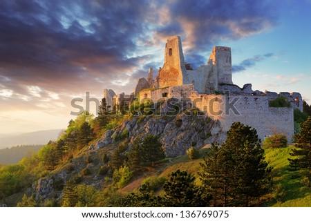 Ruin of castle Cachtice - Slovakia - stock photo