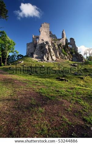 Ruin of Castle Hrusov - stock photo