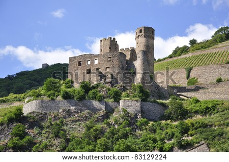 Ruin of Ehrenfels at Rhine Valley in Germany - stock photo