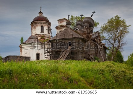 ruin of old russian church on north of russia - stock photo