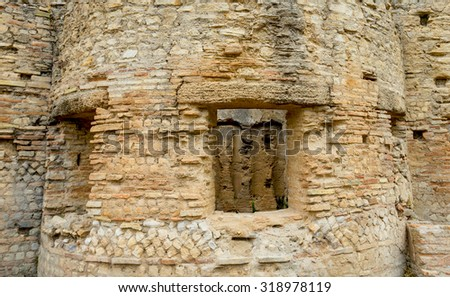 Ruin of Olympia, part of wall of ancient building, can be use as background - stock photo