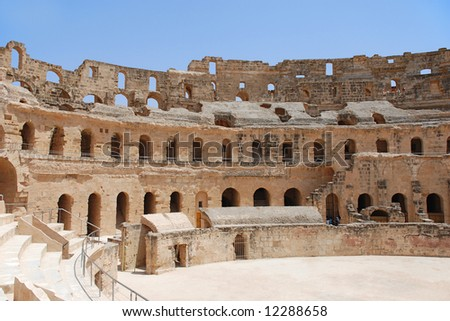 Ruin of Roman Amphitheatre in El-Jem, Tunisia (UNESCO World Heritage) - stock photo