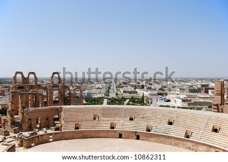 Ruin of Roman Coliseum in El-Jem, Tunisia. The UNESCO World Heritage. - stock photo